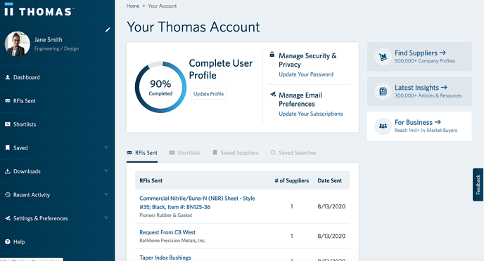Thomas Account Dashboard
