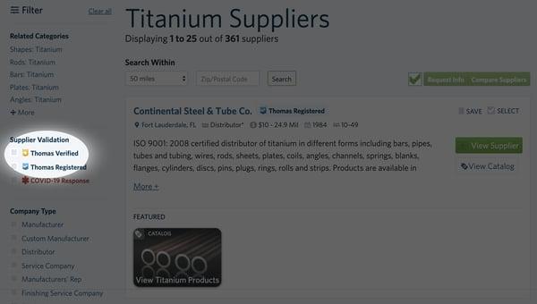 supplier validation thomas verified